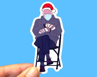 Christmas Bernie sticker | Bernie inauguration | Bernie mittens stickers | Bernie Sanders stickers | Christmas hat Bernie | Christmas gift