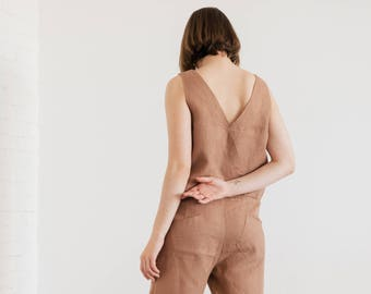 Ready to ship/ Overall Morning Linen Jumpsuit, Loose fitted overall suit, pre-Washed linen jumpsuit