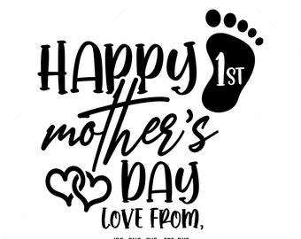 Free Use this file to create mother's day iron on vinyl shirt decals, signs, mugs, wall decals, and more! 1st Mothers Day Svg Etsy SVG, PNG, EPS, DXF File