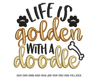 Dog Embroidery, Embroidery Download, Embroidery File, Goldendoodle, Dog Pattern, Dog Lover