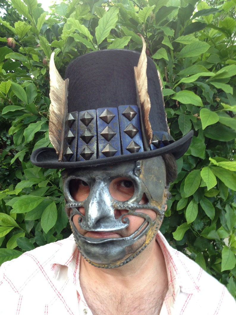 Steampunk Mask and Cylinder Devil Mask Hat Steampunk Carnival Mask Masquerade Mask Mask Festival Hat Halloween Costume Mask Face Demon