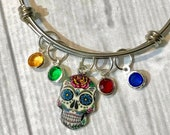Day of the Dead BRACELET, Dia de los Muertos Jewelry, Sugar Skull Bangle BRACELET, personalized with a Birthstone honoring each loved one.