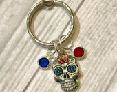 Day of the Dead KEYCHAIN, Dia de los Muertos Jewelry, Sugar Skull KEY CHAIN, personalized with a Birthstone honoring each loved one.