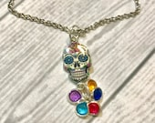 Day of the Dead NECKLACE, Dia de los Muertos Jewelry, Sugar Skull Bangle NECKLACE, personalized with a Birthstone honoring each loved one.