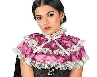 Victorian Collar Steampunk , Two layered Neckpiece Bib Cape , Renaissance Neck Tudor Ruff , Gothic Collar Silk Satin , Lace Cape , Neck Ruff