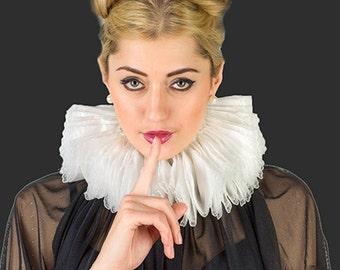 Elizabethan Neck , Tudor Renaissance Ruffled costume Ruff , Adult Circus Clown Collar with adjustable back ties , Neck Ruff Medieval Costume