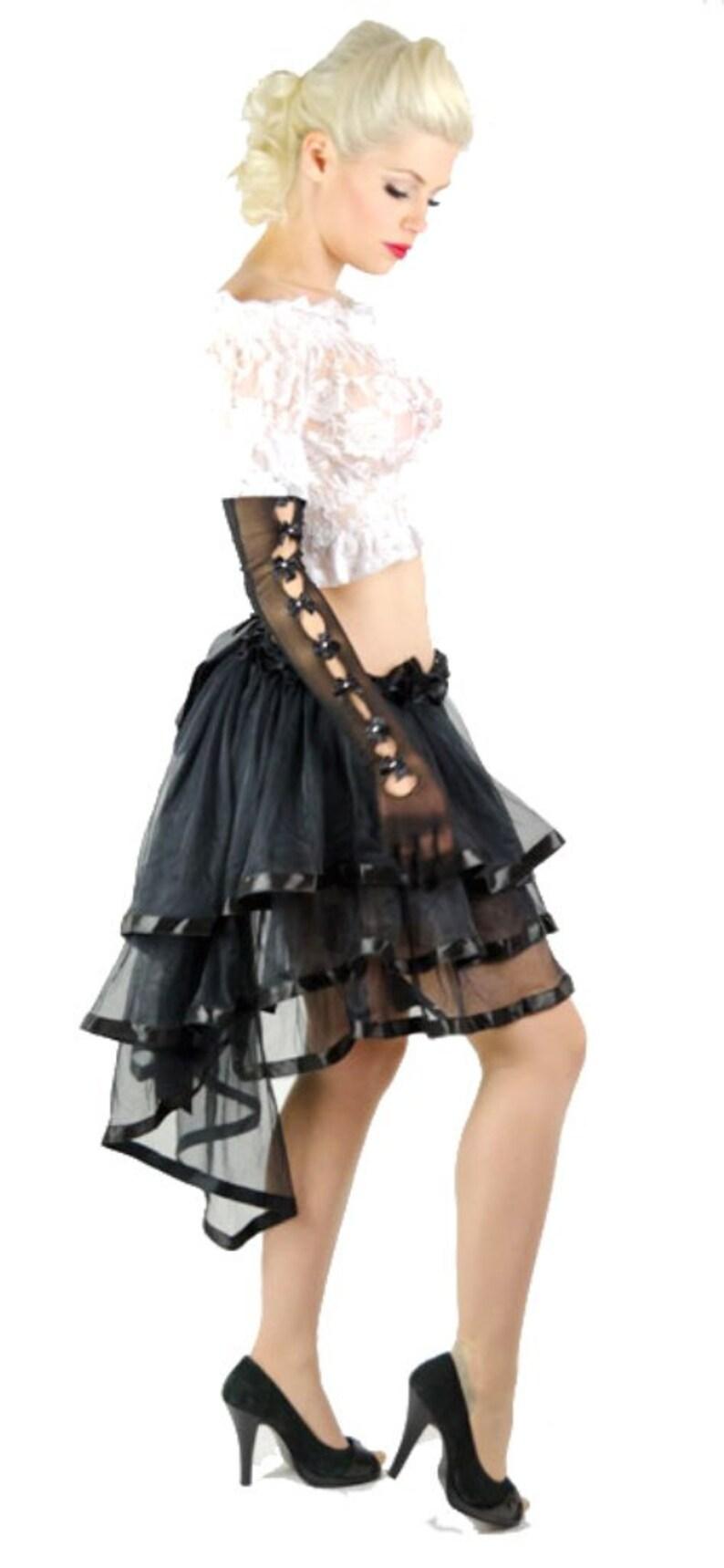 d782592ebe Black Skirt Burlesque Steampunk Long Bustle Victorian Style   Etsy