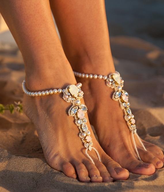 Bijoux De Mariee Pied Luxueux Sandales Aux Pieds Nus Cadeau Etsy