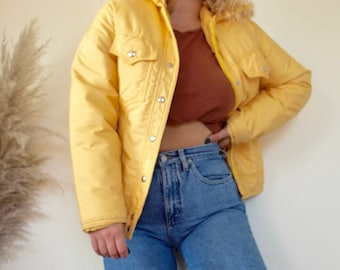 Vintage canary yellow pastel zip up puffer jacket down size small b82165237
