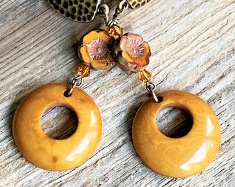 Amber Fall Clip on Earrings for Women, Small Resin Hoop Earrings for Unpierced Ears, Autumn Jewelry, Long Czech Flower Comfy Antique Brass