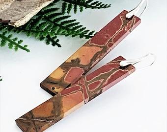 Red Creek Jasper Earrings, Long Natural Gemstone Earrings, Vertical Stone Bar Earrings for Women, Rustic Sterling Handmade Earth Tone