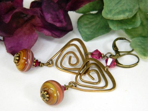 Dangle Earrings for Women Boho Earrings Gift for Women Geometric Earrings Gift for Her Handmade Jewelry Beaded Earrings Long Earrings