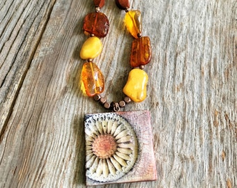 Short Amber Wood Necklace Handmade for Women, Polymer Clay Floral Pendant Necklace, Simple Boho Necklace with Mixed Media, Copper Unique