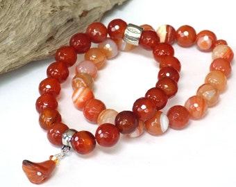 Matching Orange Carnelian Stretch Bracelets, Beaded Cuff Bracelet Set, Stack Bracelet Set, Zen Jewelry for Women, Real Stone Bracelets