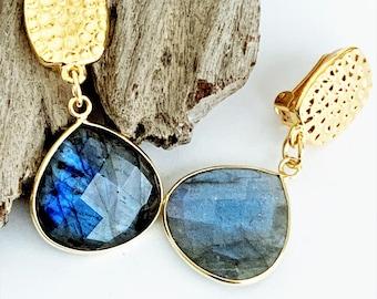 Labradorite Gemstone Clip on Earrings for Women, Gray Stone Drop Earrings for Unpierced Ears, Comfy Grey Earrings for Non Pierced Ears, Gold