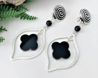 Silver and Onyx Clip on Earrings for Women, Black Gemstone Dangle Earrings for Unpierced Ears, Brushed Silver Earrings for Non Pierced Ears