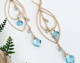 Long Blue Gemstone Dangle Earrings for Women, Crystal and Aquamarine Chandelier Earrings, Gem Stone Gold Hoop Dangly Earrings