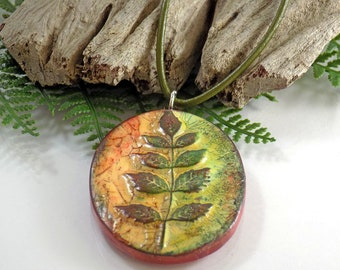 Polymer Clay Leaf Pendant Necklace, Colorful Clay Necklace Handmade for Women, Long Green Leather Cord Necklace with Artisan Pendant