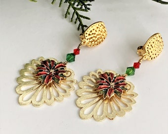 Gold Christmas Clip on Earrings, Red and Green Holiday Earrings for Unpierced Ears, Crystal Dangle Earrings for Women with Non Pierced Ears
