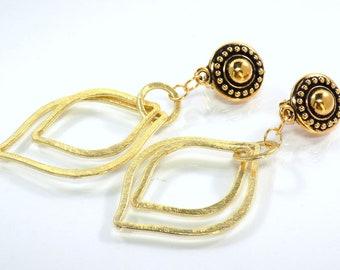 Double Teardrop Non Pierced Hoop Earrings, Gold Clip on Hoops Earrings, Brushed Gold Hoops Earrings for Women with Unpierced Ears,