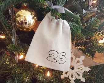 Rustic advent calendar pouches / bags Cotton/linen blend 25 days