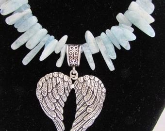 Heavenly blue Aquamarine and Angel/FairyWings