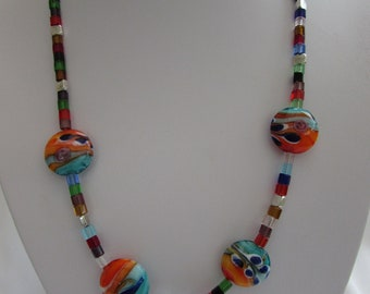Lampwork bead and crystal bead necklace