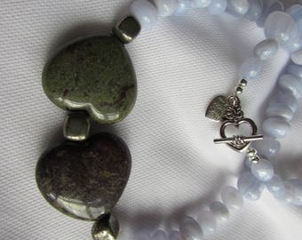 Blue Chalcedony, Bloodstone hearts and Pyrite necklace