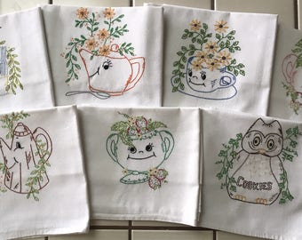 5926115d831358 Set of 7 Hand Embroidered Kitchen Flour Sack Towels w/ animated pots and  dishes theme, Days of the week theme. Quality vintage Tea Towels