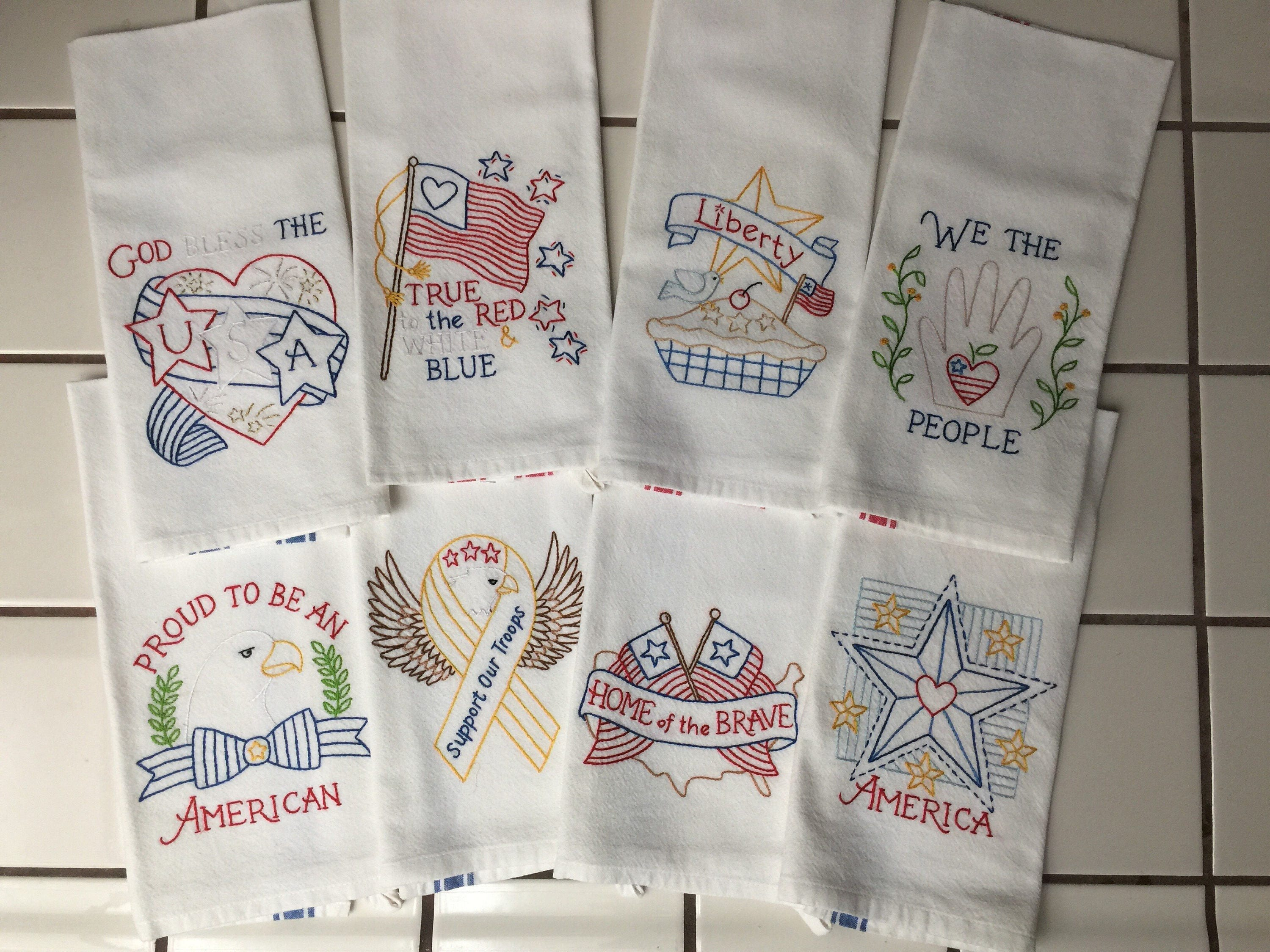Set of 7 Hand Embroidered Kitchen Towels tea towel flour ...