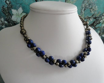 Metallic Pyrite and blue Lapis necklace and earring set  -   #449