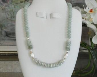 Amazonite and Aquamarine beaded necklace  -  29