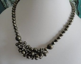 Metallic Pyrite necklace and earring set  -   #448