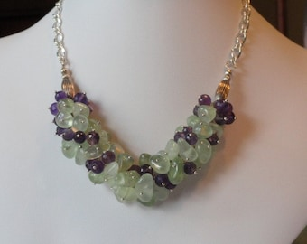 Amethyst and Prehinite beaded necklace  -  151