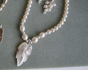 Pearl beaded necklace with Mother of Pearl leaf pendant  -  101