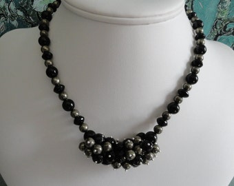 Black Onyx and metallic Pyrite necklace and earring set  -   #450