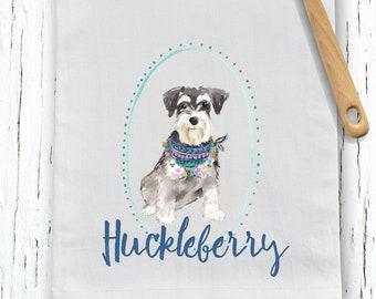 Custom Schnauzer flour sack towel, tea towel, gift, dog mom, dog dad, personalized name, pet name gift, watercolor pet portrait