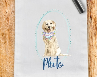Custom Golden Retriever flour sack towel, tea towel, gift, dog mom, dog dad, personalized name, pet name gift, watercolor pet portrait