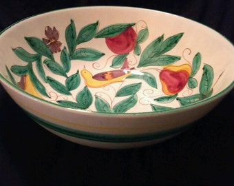 Large Italian Hand Painted Serving Bowl ~ Partridge In A Pear Tree