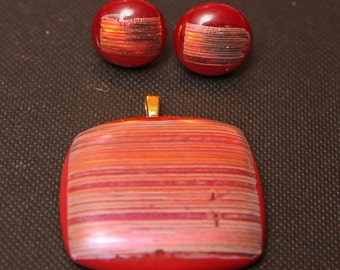 Glass Fusion Pendant and Matching Earrings