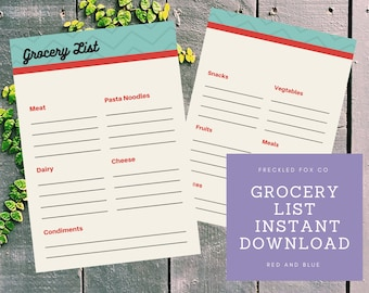 Grocery List Instant Download! Organized Kitchen, white and blue, kitchen hacks, dollar tree crafts