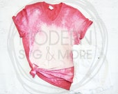 Bleached Shirt Styled Mockup, Bleached Shirt Flat Lay Styled Mockup, Anvil 6750VL Heather Red V-Neck Mockup
