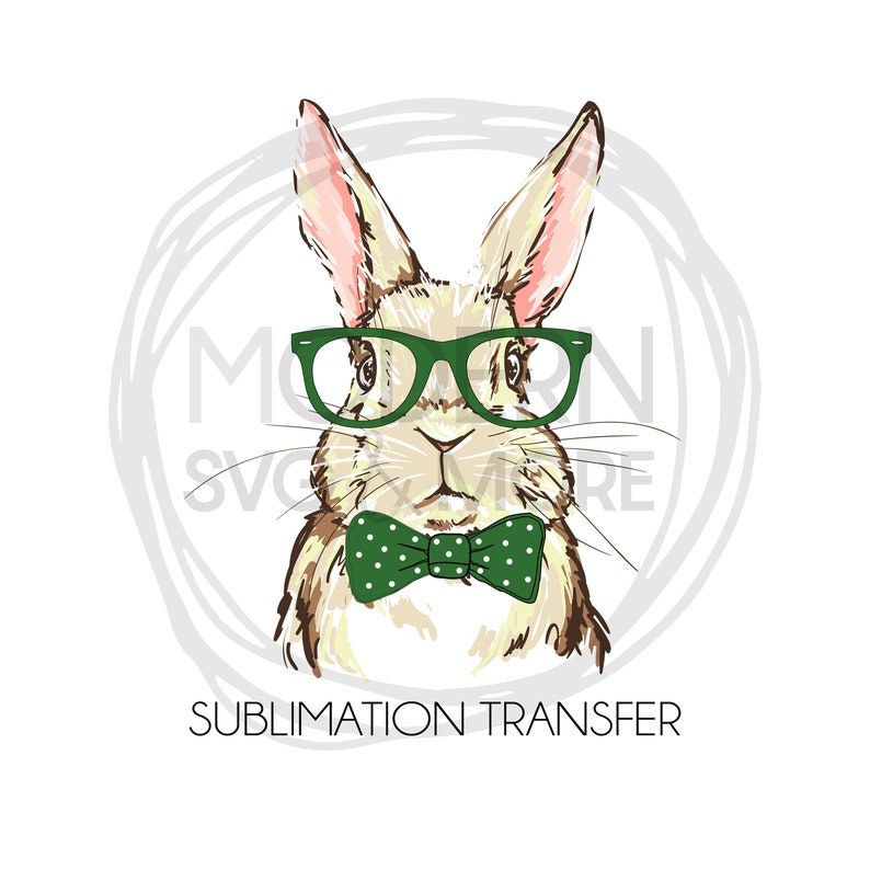 Boy Bow Tie Easter Bunny with Glasses Sublimation Transfer image 0