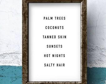 Summer Nights, Summer Vibes, Palm, Beach, gifts for her, wall art, printable, girlfriend gift, best friend gift, inspirational, wall decor