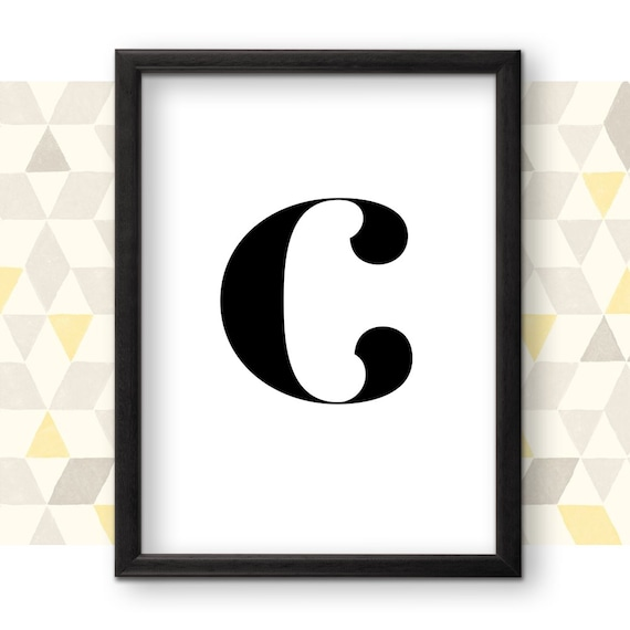 C Letter Art C Monogram Printable Poster Typography Etsy