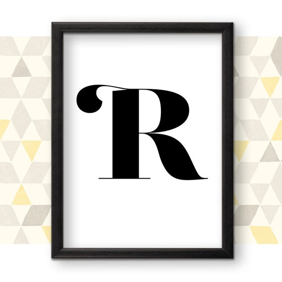 image relating to Printable Letter R named R Letter Artwork, R, Monogram, Printable Poster, Typography, Printable Artwork, Black and White, Artwork Print, Wall Artwork, Fashionable, Letter Poster