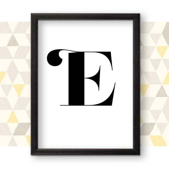 Letter Art Print.E Letter Art E Monogram Printable Poster Typography Printable Art Black And White Art Print Wall Art Contemporary Letter Poster