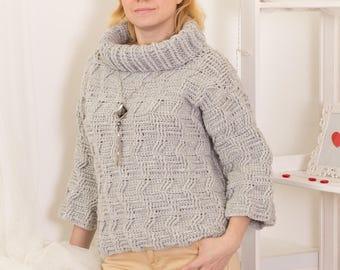 3a6448b63 Crochet sweater PATTERN wool pullover tutorial warm sweater