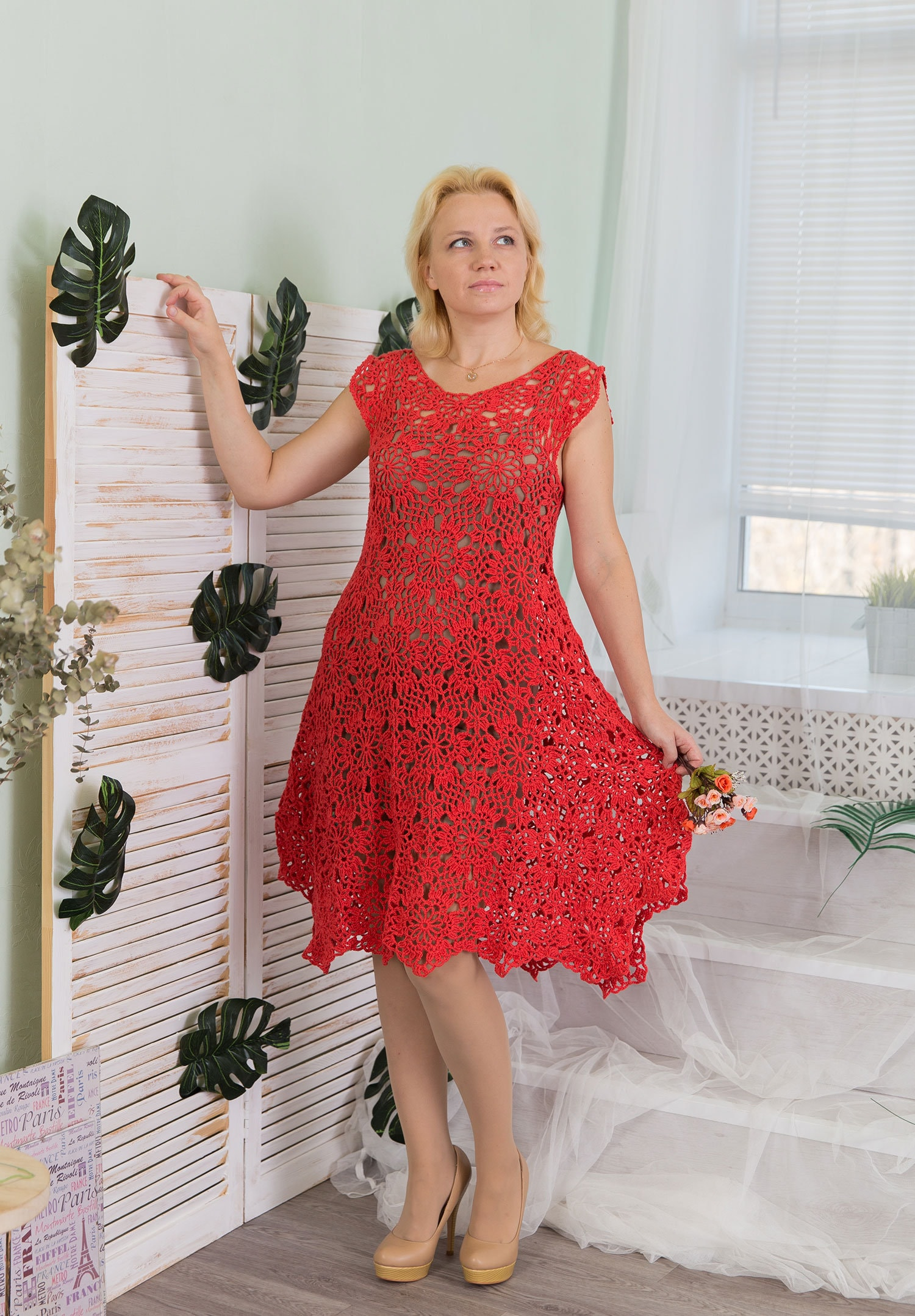 Crochet dress PATTERN summer midi dress tutorial motifs | Etsy