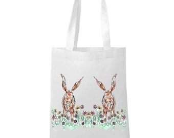 Rabbit bag, personalised tote bag, white bag, shopping bag, rabbit gift, rabbit lover, hare gift